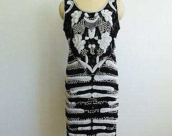 80s black and white SEQUIN Flapper dress size medium