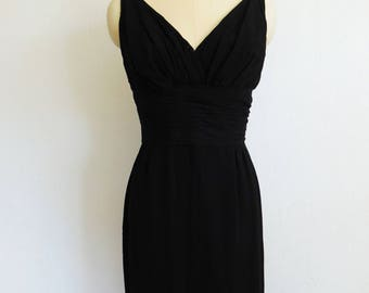 60s black Miss Elliette classic VAMP evening gown size small