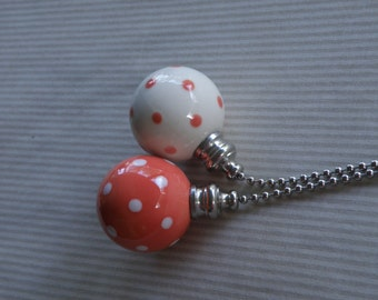 Coral Polka Dots - Set of 2 - Pottery Ball Ceiling Fan Pulls - Handmade in the USA - Nickel or Brass Hardware