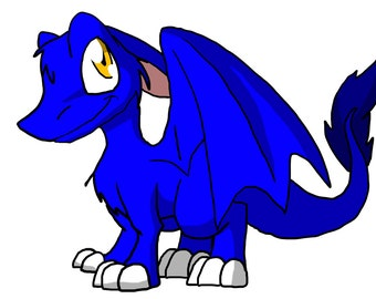 Instant Download - Royal Blue Furry Dragon - Perfect for Cake Toppers, Stickers, Fabric Transfers, Mousepads, etc - Editable Printable Cute