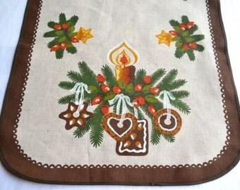 Vintage Scandinavian Linen Table Runner - Christmas Gingerbread Candles - 16 x 39