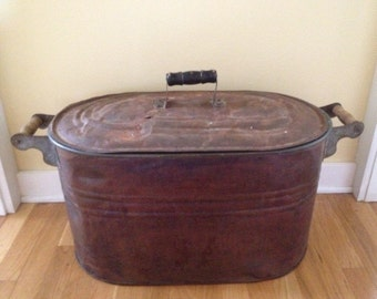 Vintage Copper Tub with Lid