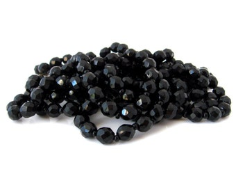Two Vintage Jet Black Glass Bead Necklaces | Long Flapper Length Strand | Destash Jewelry Lot