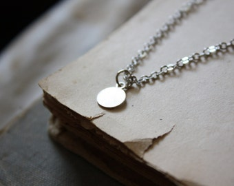 Silver Drop Necklace - Minimal Necklace - Silver Dot Necklace - Layered Necklace