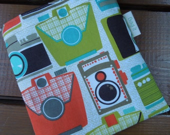 Reusable sandwich bag - Fabric sandwich bag - Large snack bag - Photo cameras
