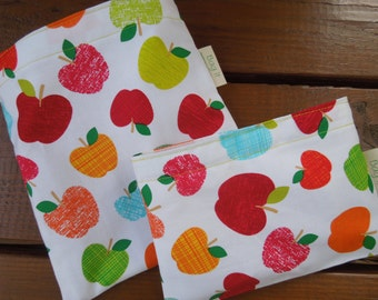 PRICE REDUCED * Reusable sandwich and/or snack bag - Reusable sandwich bag - Fabric snack bag -Apples and several options for snack bag