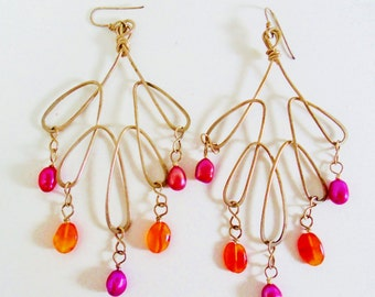 "Vintage Looped Wired Long Earrings Bright Orange Pink Semi Precious Beads Dangles 60's Space Age Mod 3 3/4"" Retro Art Deco Runway Statement"