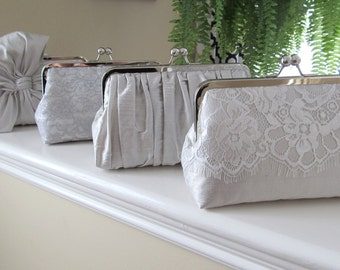 SALE, 15% Off, Mis Matched Bridesmaid Clutches Set of 4,Bridal Accessories,Wedding Clutch,Lace Clutch,Bridesmaid Clutch