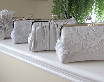 SALE 15% OFF, Mis Matched Bridesmaid Clutches Set of 4,Bridal Accessories,Wedding Clutch,Lace Clutch,Bridesmaid Clutch
