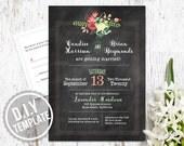 DIY Custom Wedding Invitation Suite and Response Card for Garden Wedding - Rustic Chalkboard Botanical Printable PDF