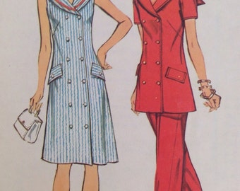 70's Simplicity 5566 Misses'  Dress, Tunic and Pants • size 18