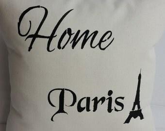 Home, PARIS, Eiffel Tower throw pillow 14 x 14 inches natural cotton canvas