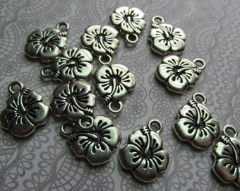 Clearance, Discontinued, LOT of Hibiscus Charms, Silver charms, Hibiscus, Tropical flowers, Tropical Hibiscus