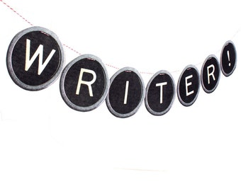 Custom Vintage Typewriter Keys Banner - photo reproductions on felt - black type keys alphabet garland