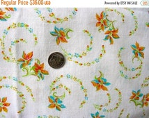 Sale:) Vintage Feedsack Flour Sack Cotton Fabric -   Pretty Delicate Tiny Sprays of Aqua & Pale Orange Flowers -  size 34 x 40