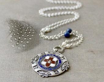 Vintage Watch Fob Necklace, English Medal Necklace, Silver Medallion Necklace, Vintage Fob Necklace Sterling Fob Vintage Pendant British Fob