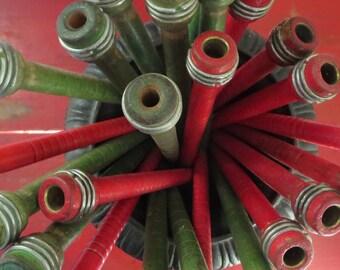 6 vintage spools Vintage wood spools Vintage wooden spools Vintage green spindles Industrial bobbins Thread bobbin Wood bobbin