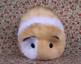Blonde and White Toy Guinea Pig Handmade Plushie
