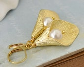 CALLA LILY earrings with solid brass cast calla lily charms and Swarovski cream white glass pearls