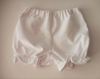 White cotton simple white pantaloons bloomers for babies and toddlers
