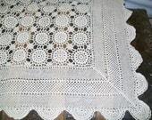 Fabulous Handmade Vintage Tablecloth - Ecru Cotton Crochet Lace - Banquet - Rectangle