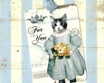 Tags, Kitten Tags, Cat Lover, Birthday Tags, For You Tags, Kitten in Dress