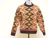 Vintage aztec wool sweater - size large by New River Co