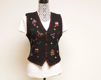 Vintage Black Women's ugly wool Christmas sweater vest size small by Erika Classics Clothing Co.