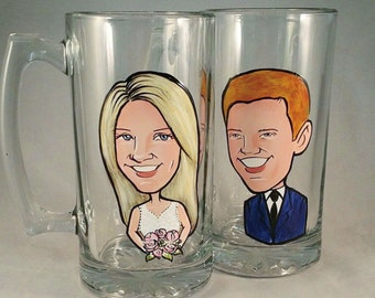 Bride and Groom Toasting Glasses -  The Original Caricature Glasses (tm) - Hand Painted Beer Mugs