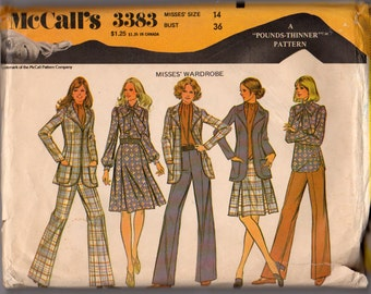 Vintage 1972 McCalls 3383 Ladies pants, jacket, skirt and blouse pattern Size 14