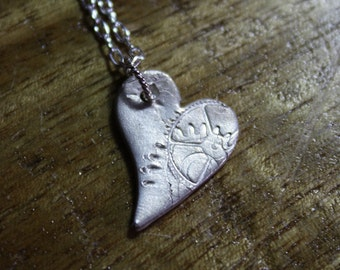steampunk sterling silver artisan heart pendant cogs and grears