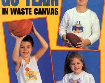 Go Team Waste Canvas Child Bear Football Basketball Cheer Baseball Ballerina Counted Cross Stitch Craft Pattern Leaflet Leisure Arts 2669