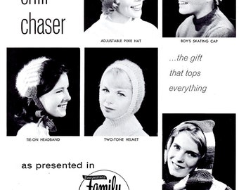 Knit a Chill-Chaser Hat Vintage 1960s Tie on Headband Pixie Striped Hooded Scarf Helmet Cap Adult Women Sizes Craft Pattern Leaflet