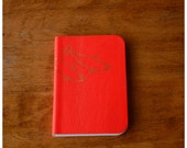 Pocket Size Leather Journal  - Pink Leather Diary - Blank book - Notebook - Recycled Paper - Beluga Whale