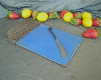 Cheese Plate, Serving Tray in Sky Blue and Black Mountain with Stamped Handle