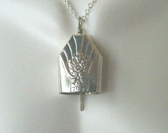 """Vintage Sterling Silver Silverware Bell Pendant with 20"""" Cable Chain"""