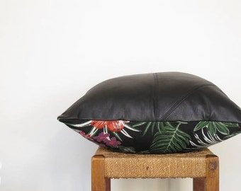 Large Black Leather Pillow  ... Luxe Leather Sofa Cushion with Jungle Leopard Palm Tapestry