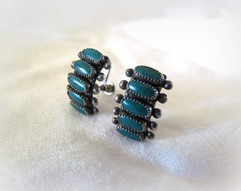 Vintage Native American Zuni Sterling and Green Turquoise Petit Point Snake Eyes Screw Back Earrings