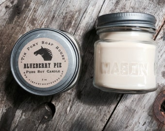 Blueberry Pie 8oz Mason Jar Soy Candle Rustic Hand poured