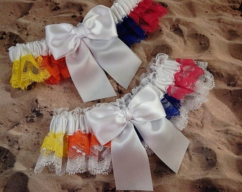 Multicolored Rainbow Lace white Satin Wedding Bridal Garter Toss Set