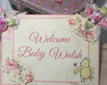 Welcome Baby Sign...Winnie the Pooh Shabby Chic...Baby Girl...Baby Shower .....One Sign