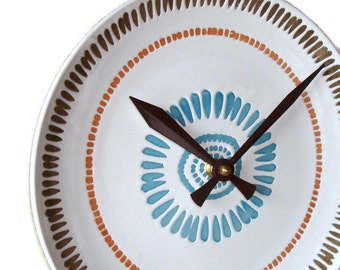 Slate Blue and Brown Wall Clock / Stoneware Plate Clock / Kitchen Clock / Ceramic Wall Clock / Kitchen Wall Decor / 2220