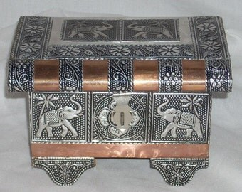 Vintage Copper and Tin Elephant Jewelry Box