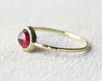 14k Gold Rose Cut Ruby Ring - Solid 14k Rose or Yellow Gold - Hammered Band and Millgrain Edge - Bezel Set Ring with July Birthstone
