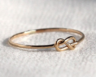 Delicate 14k Gold Infinity Knot Ring - Solid 14k Rose or Yellow or Green or White Gold - Tiny Love Knot Ring - Thread of Gold Stack Ring
