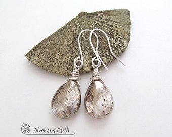 On SALE - Pyrite Earrings, Sterling Silver, Wire Wrapped, Organic Earthy Pyrite Jewelry, Natural Stone, Gray Metallic Gemstone Jewelry Sale