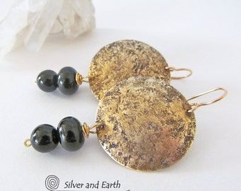 Black Onyx Earrings, Brass Earrings, Black Gold Earrings, Everyday Jewelry, Contemporary Modern Jewelry, Onyx Jewelry, Handmade Earrings