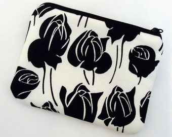 Black roses - Zipper pouch / coin purse (padded) (ZS-18)