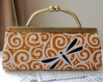 SALE - Dragonfly - Large Clutch Purse with chain (L-166) R1