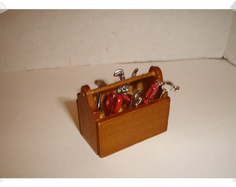 Miniature Wooden Tool Box with Tools/ Minis/ Craft Supplies**
